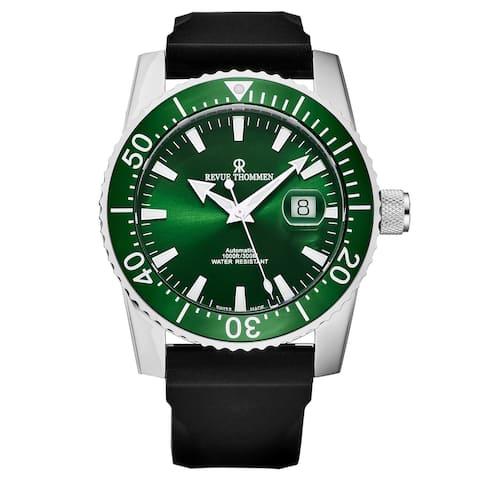 Revue Thommen Men's 17030.2534 'Diver' Green Dial Rubber Strap Swiss Automatic Watch