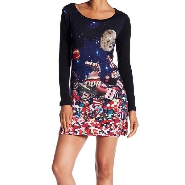 0d0f8465f38c Shop Papillon Blue Womens Size XL Scoop Neck Printed Sweater Dress ...