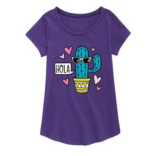 Hola Cactus With Sunglasses - Youth Girl Short Sleeve Curved Hem Tee