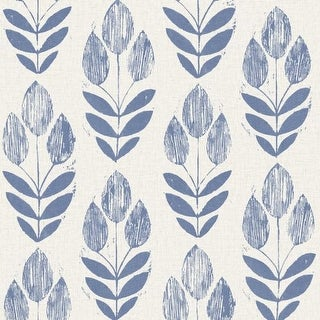 Brewster 2535-20652 Scandinavian Blue Block Print Tulip Wallpaper