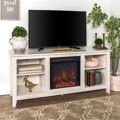 Roosevelt White Wash 58-inch Fireplace TV Stand Console