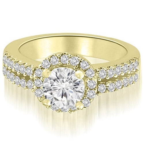 1.13 cttw. 14K Yellow Gold Two Row Round Cut Halo Diamond Engagement Ring