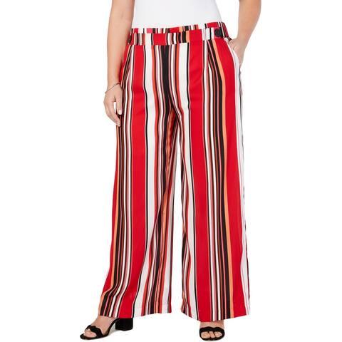 John Paul Richard Womens Plus Pants Striped Pallazzo - Vermillion Cabana - 1X