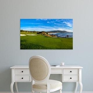 Easy Art Prints Panoramic Image '8th Hole at Pebble Beach Golf Links, Carmel Bay, Pebble Beach, California' Canvas Art