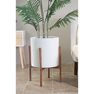 Link to Mid-century Modern White Ceramic Planter with Wood Stand Similar Items in Planters, Hangers & Stands
