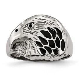 Stainless Steel Polished Black Enameled Eagle Ring (15 mm) - Sizes 9 - 12