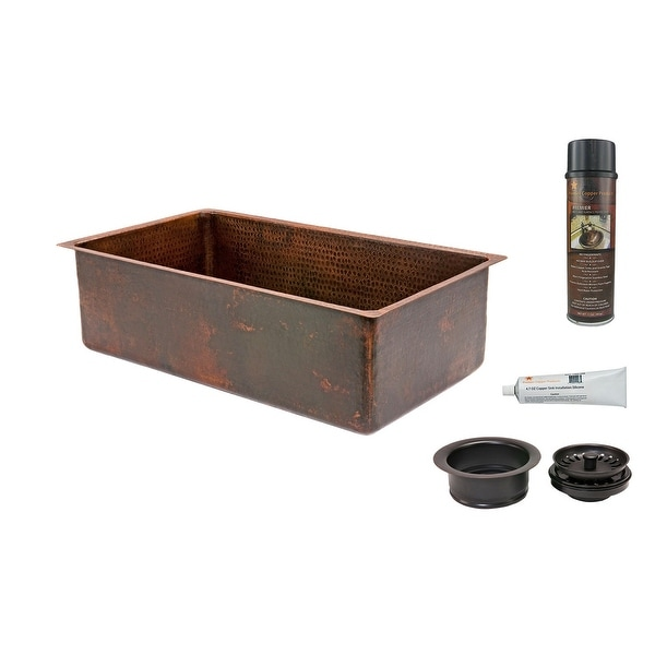 """Premier Copper Products KSP3_KSDB30199 30"""" Hammered Copper Kitchen Single Basin Sink with Matching Drain and Accessories."""