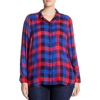 Lucky Brand Womens Plus Bungalow Button-Down Top Plaid Long Sleeves