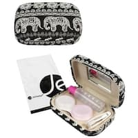 JAVOedge Elephant Print Contact Lens Carrying Case Travel Kit with Mirror, Tweezer, and Soultion Bottle
