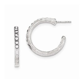 Silvertone Light & Dark Blue Crystals Hoop Earrings
