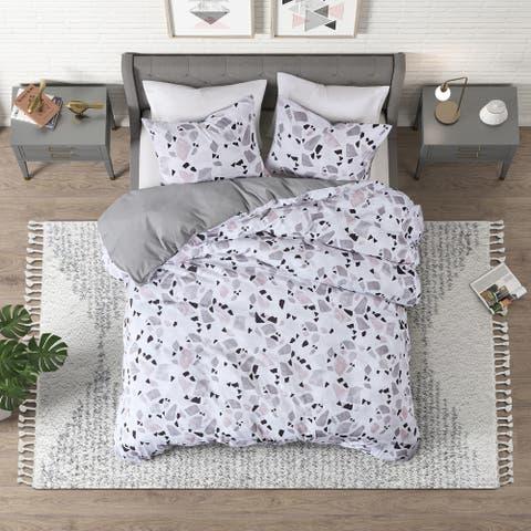 CosmoLiving Terrazzo Blush/ Grey Cotton Printed Duvet Cover Set