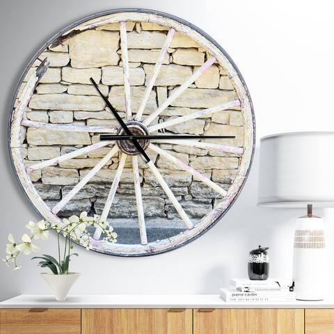 Designart 'Old Vintage Broken Wood Wheel' Oversized Farmhouse Wall CLock