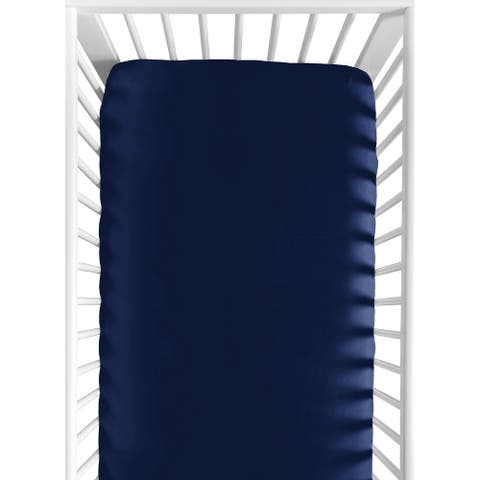 Sweet Jojo Designs Navy Blue Fitted Crib Sheet for the Navy and White Woodland Deer Collection