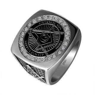 Stainless Steel Freemason Ring Mason Masonic G Lab Diamond Iced Out