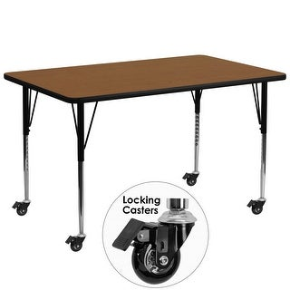 "Delacora FF-XU-A3072-REC-H-A-CAS-GG  72"" Wide Steel Framed Wood Top Adjustable Activity Table with Locking Casters"