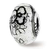 Italian Sterling Silver Reflections Floral Skull & Bones White w/Glitter Glass Bead (4.5mm Diameter Hole)