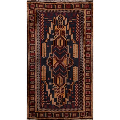 """Tribal Geometric Balouch Persian Area Rug Hand-knotted Wool Carpet - 3'6"""" x 6'5"""""""