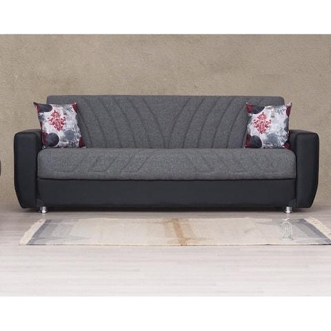 Baltimore Grey and Black Convertible Sleeper Sofa with Storage