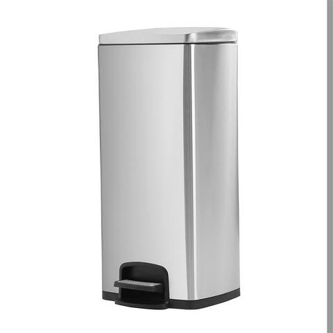 Rectangle, Stainless Steel, Soft-Close, Step Trash Can, 30L