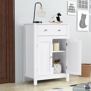 Bathroom Storage Cabinet Free Standing Large Drawer - White