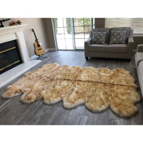 "Dynasty 12-Pelt Luxury Wool Sheepskin White with Brown Tips Shag Rug - 5'5"" x 9'2"""