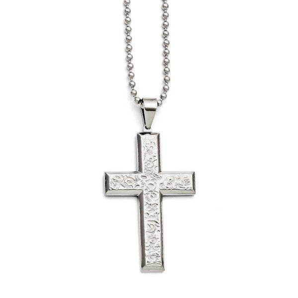 Chisel Stainless Steel Polished and Textured Cross Necklace (3 mm) - 24 in