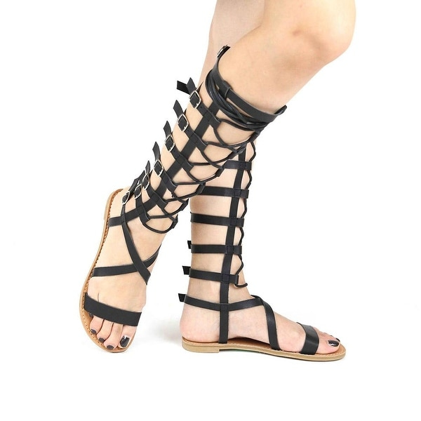 Qupid Athena-921Ax Gladiator Sandals Black