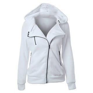 QZUnique Women's Fashion Long Sleeve Solid Color Zip Up Hoodie Sweatshirt
