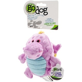 goDog Dragons Grunters Plush Dog Toy with Chew Guard Technology, Small, Violet