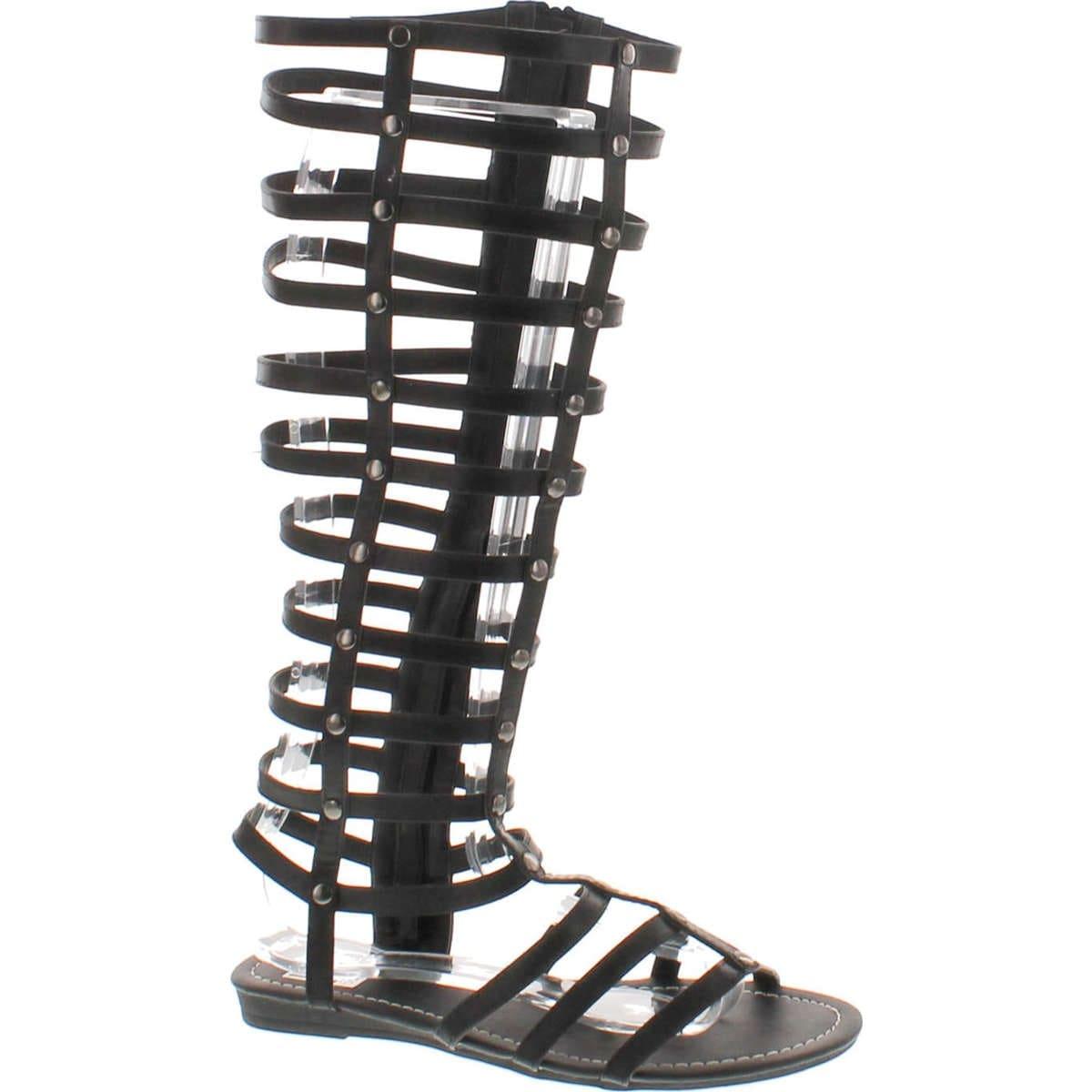 Bumper Lory-90 Women Leatherette Studded Gladiator Knee High Flat Sandal