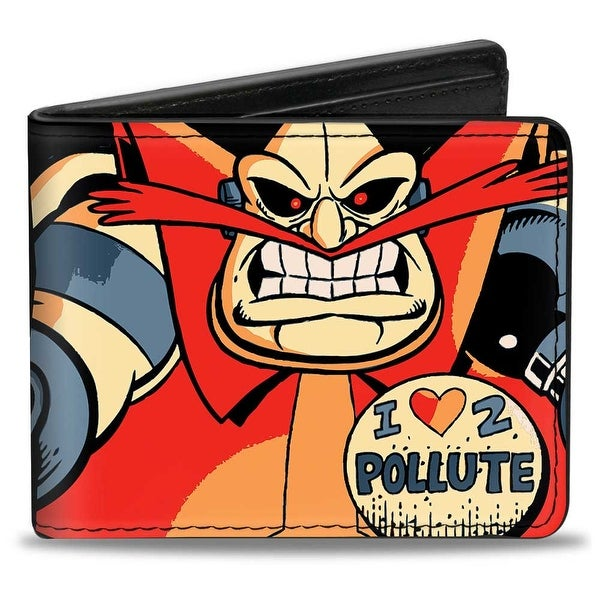 Sonic Classic Sonic Knuckles Tails Doctor Eggman Poses Blocks Collage Bi Bi-Fold Wallet - One Size Fits most