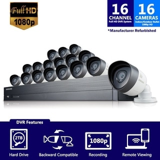 SDH-C75100-16 - Samsung 16 Channel 1080p HD 2TB Security System SDH-C75100 with 6 additional cameras (Custom Refurbished)