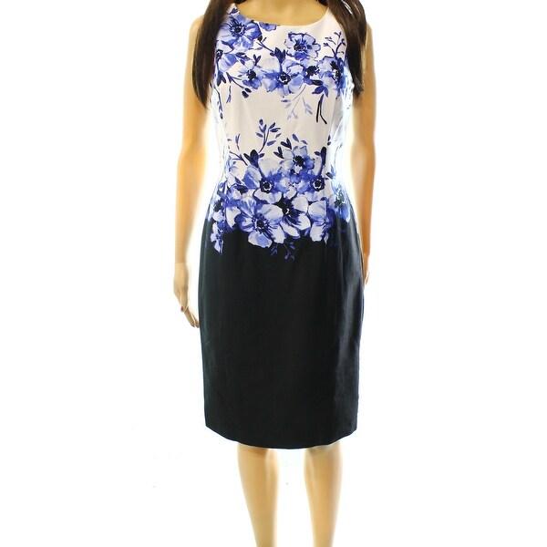 Lauren Ralph Lauren NEW Blue Women's Size 14 Floral Sheath Dress