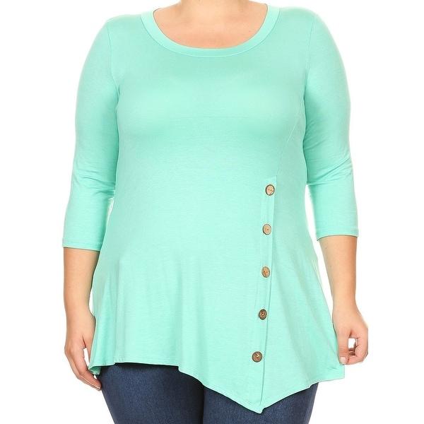 dfd7d933a6 Women Plus Size Solid Button Asymmetric Knit Top Tee Blouse Shirt USA Mint  241B SD