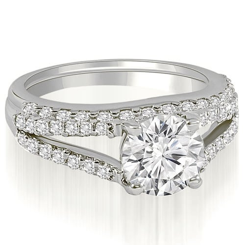 1.57 cttw. 14K White Gold Cathedral Split Shank Round Cut Diamond Bridal Set