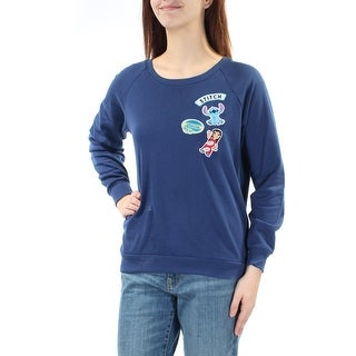 DISNEY $34 Womens New 1202 Navy Embroidered Lilo And Stitch Sweater M Junior B+B