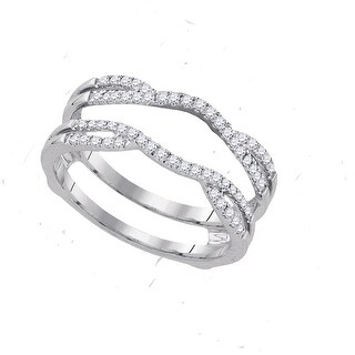 14k White Gold Womens Natural Round Diamond Bridal Wedding Enhancer Band Wrap Ring 1/3 Cttw