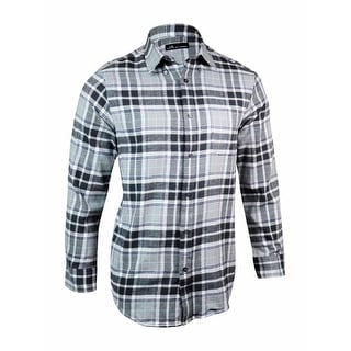 John Ashford Men's Plaid Cotton Flannel Buttoned Shirt - S