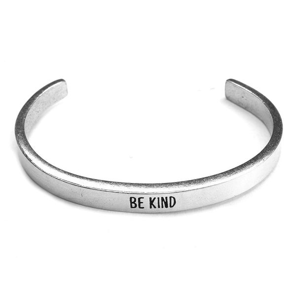 Women's Note To Self Inspirational Lead-Free Pewter Cuff Bracelet - Be Kind