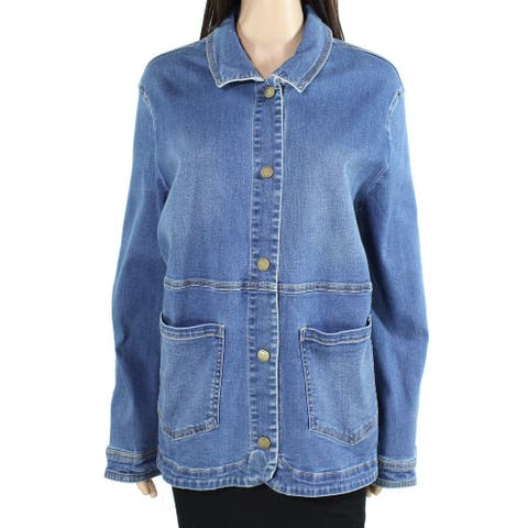 Joules Womens Jacket Blue US Size 16 UK 20 Imogen Button-Front Denim