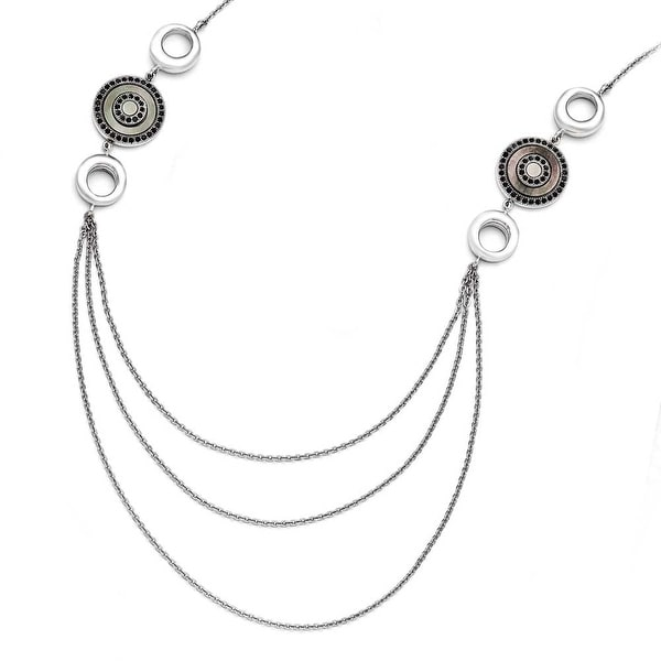 Chisel Stainless Steel Polished Black Mother of Pearl and Crystal with .75 inch Extension Necklace (2 mm) - 23 in