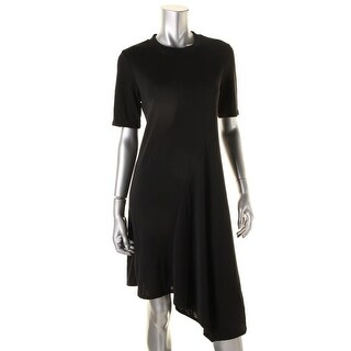 DKNY Womens Asymmetrical Dress Mock Turtleneck Stretch Cocktail Dress - M