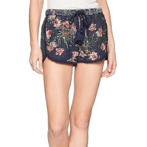 Roxy Blue Womens Small S Drawstring Pull-On Floral Crochet Shorts