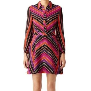Diane von Furstenberg NEW Purple Women 4 Silk Retro Chrissie Shirt Dress