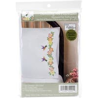 "Stamped Pillowcase Pair For Embroidery 20""X30""-Hummingbird"