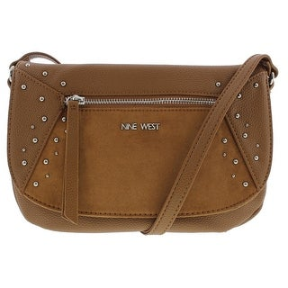 Nine West Womens Studded Star Faux Leather Lined Crossbody Handbag - Tobacco - SMALL