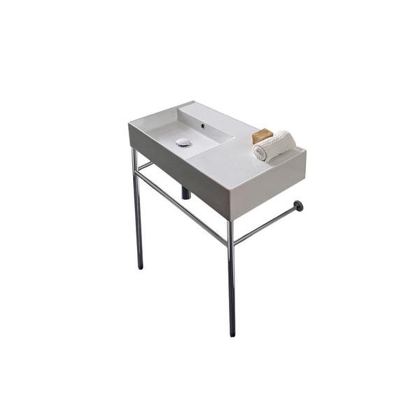 "Nameeks Scarabeo 5115-CON Scarabeo Teorema 2.0 32"" Ceramic Bathroom Sink for Console Installation"