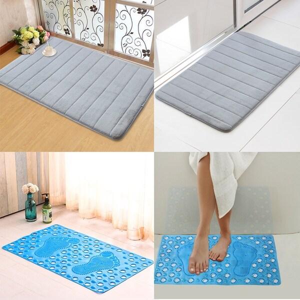 Memory Foam Bath Mat & Non-Slip PVC Shower Bath Mat (Set of 2)