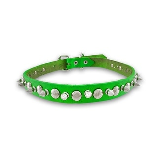 Neon Leather Spiked Dog Collar