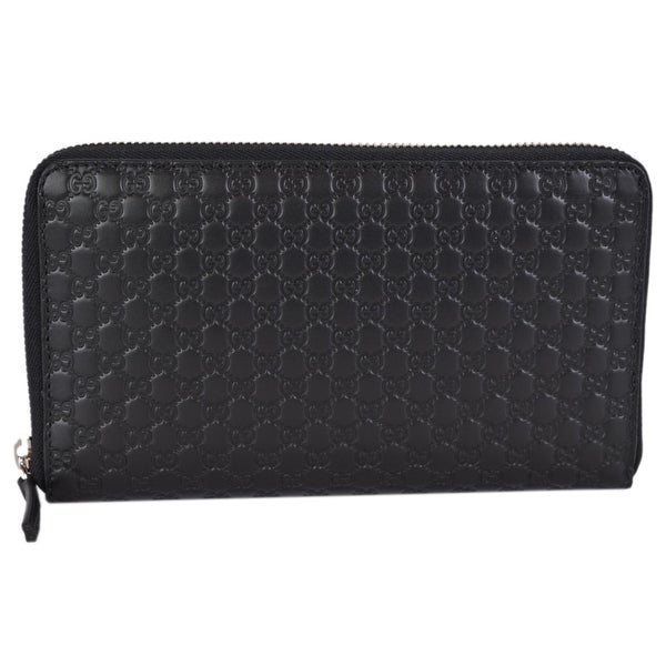 5d6a42460b5 Gucci 391465 XL Micro GG Black Leather Zip Around Travel Wallet Clutch - 8